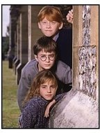 Harry Potter and the Sorcerer's Stone movie still: Rupert Grint, Daniel Radcliffe and Emma Watson