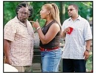 """""""Barbershop 2: Back In Business"""" Movie Still: Queen Latifah, Cedric The Entertainer, and Ice Cube"""