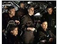 The Core movie still: Hilary Swank as Beck, Aaron Eckhart as Josh, Delroy Lindo as Brazzelton, Stanley Tucci as Zimsky, Bruce Greenwood as Richard and Tcheky Karyo as Serge