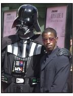 Ahmed Best and Darth Vader at the Star Wars Episode II premiere