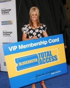 """Jessica Simpson at a press conference to announce Blockbuster Video's """"Total Access"""" Service"""