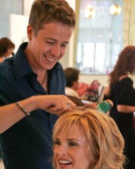 Kylie Bax having her hair done at Jose Eber hair salon