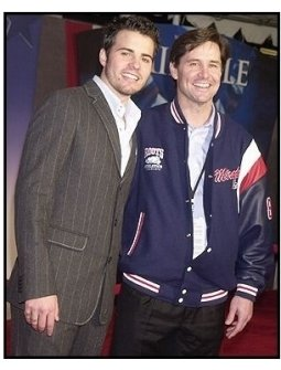 "Nathan West and 1980 US Gold Medal Olympic hockey team member Rob McClanahan at the ""Miracle"" premiere"