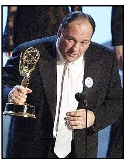 "James Gandolfini accepts the Outstanding Lead Actor in a Drama Series award for ""The Sopranos"" at The 55th Annual Primetime Emmy Awards"
