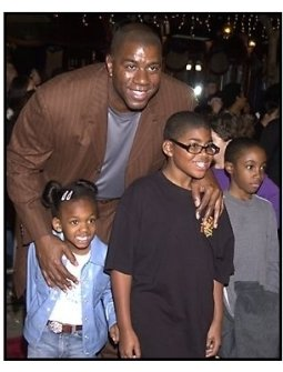Magic Johnson and family at the Harry Potter premiere