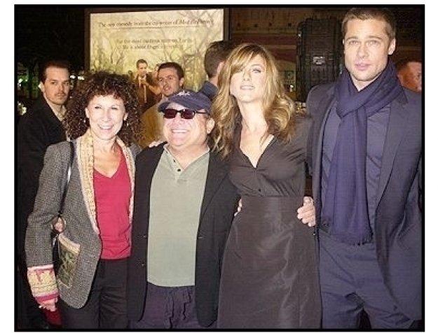"Rhea Perlman, Danny DeVito, Jennifer Aniston, and Brad Pitt at the ""Along Came Polly"" Premiere"