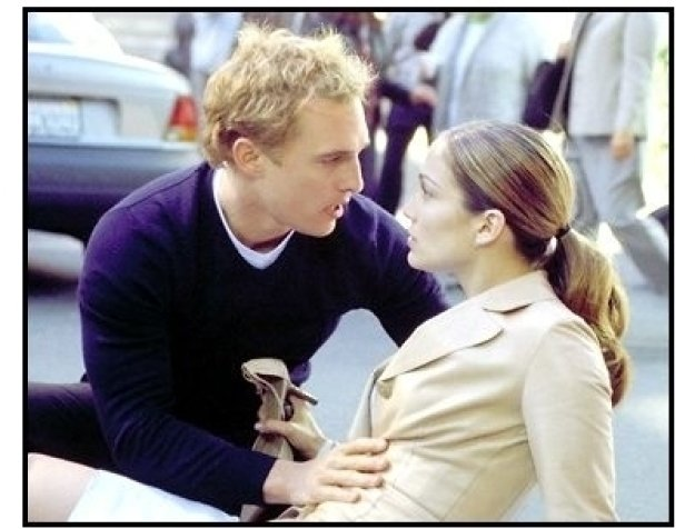 The Wedding Planner movie still: Mary's (Jennifer Lopez) perfect life gets thrown out of whack when Doctor Steve Edison (Matthew McConaughey) appears out of nowhere and saves her from a collision with