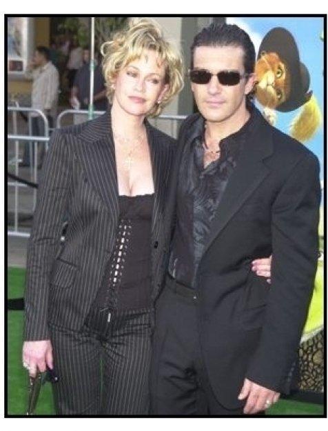"Melanie Griffith and Antonio Banderas at the ""Shrek 2"" Premiere"